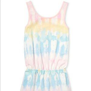 Children's Rainbow tie Dye Girls  Cut Out Romper